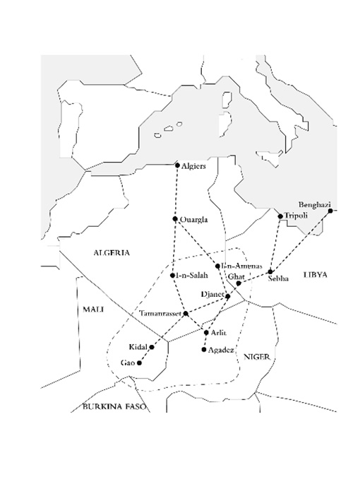 A sketch of transnational mobility of ishumar (called afrod) in the borderlands of Libya, Algeria, Mali, and Niger. The continuous line represents the original territory of Tuareg from which ishumar break out and head especially to Algeria and Libya in order to get employment.